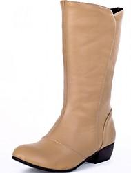 Feminino-Saltos-Botas de Cowboy Botas de Neve Botas Montaria Botas da Moda-Rasteiro-Preto Branco Amêndoa-Sintético Couro Envernizado