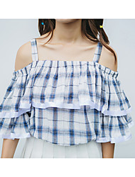 Women's Going out Cute Summer Blouse,Check Strap ½ Length Sleeve Blue Polyester Thin