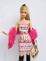 Casual Dresses For Barbie Doll Pink / Flaxen Print Dresses / Stockings / Bag / Shawl For Girl's Doll Toy