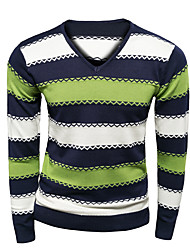 Men's Striped Casual Pullover,Wool Long Sleeve Green / Red / Yellow