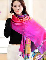 National Wind Jacquard Flower Embroidery Rainbow Gradient Fringed Shawl Travel Cotton Long Warm Scarves