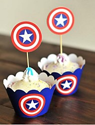 Birthday Party Tableware-24Piece/Set Cupcake Wrappers 100% virgin pulp Classic Theme Cylinder Blue