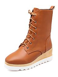 Women's Boots Fall / Winter Comfort / Square Toe Wedding / Outdoor / Dress Platform Split Joint /Yellow