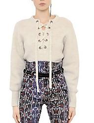 Damen Kurz Pullover-Lässig/Alltäglich Street Schick Solide Beige / Schwarz Rundhalsausschnitt Langarm Baumwolle Herbst Mittel / Dick