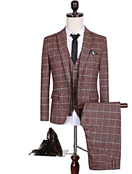 Suits Standard Fit Notch Single Breasted One-button Polyester Checkered 3 Pieces Brown Straight Flapped