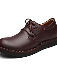 Men's Oxfords Spring / Fall Comfort / Round Toe Leather Party & Evening / Casual Flat Heel Others / Lace-up   / Coffee