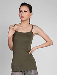 Women's Casual/Daily Cute Summer Tank Top,Solid Strap Sleeveless Green Cotton Thin