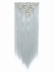 """22 """"(55cm) gerade Clip in Haarverlängerungen 130g 7pcs / set heiß beständigen synthetischen silbergrau"""