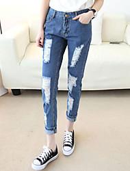 Women's Solid Blue Jeans Pants