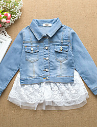 Girl's Cotton Spring/Autumn Fashion Lace Patchwork Denim Jacket