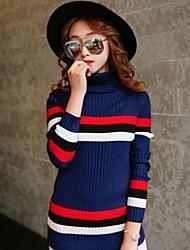 Normal Pullover Femme Sortie / Décontracté / Quotidien simple / Mignon,Couleur Pleine Bleu Col Roulé Manches Longues CotonPrintemps /