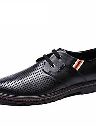Черный / Синий / Коричневый Мужская обувь Для прогулок / Для офиса / На каждый день Кожа Туфли на шнуровке
