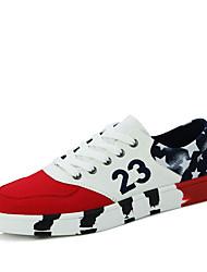 Femme-Décontracté-Noir / Rouge / Blanc-Talon Plat-Confort-Sneakers-Tissu