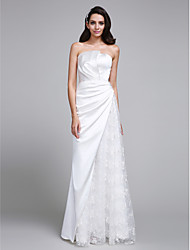 Trumpet / Mermaid Wedding Dress Floor-length Strapless Lace / Satin with Lace