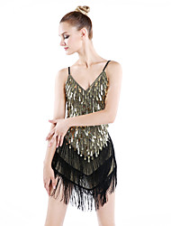 Latin Dance Dresses Women's Performance Spandex Polyester Sequins Tassel(s) 1 Piece Dress
