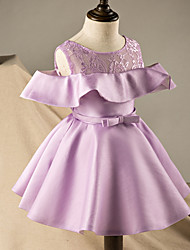 A-line Short / Mini Flower Girl Dress - Satin Short Sleeve Scoop with Bow(s) / Lace