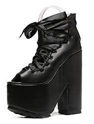 Черный / Розовый-Женский-Для прогулок-Дерматин-На толстом каблуке-На каблуках-Обувь на каблуках