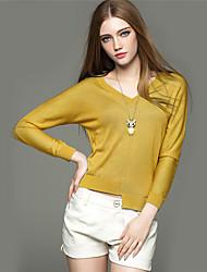 Mara Carol® Damen V-Ausschnitt Lange Ärmel Pullover & Cardigan Lila / Gelb-1619121