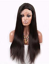 venta caliente de la peluca de color negro natural de cabello humano recto natural del cordón lleno densidad del 130% con el pelo del bebé