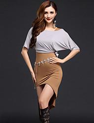 Dança do Ventre Vestidos Mulheres Actuação Modal Frente Dividida 2 Peças Meia manga Natural Vestidos / TopSuitable Weight