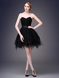 Cocktail Party Dress A-line Sweetheart Short / Mini Tulle with Sash / Ribbon