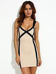 Women's Sexy Bodycon Party Plus Sizes Micro Elastic Sleeveless Above Knee Dress (Microfiber)