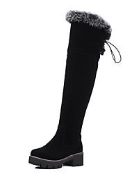 Feminino-Botas-Saltos / Conforto / Coturno / Botas Cano Curto / Arrendondado / Botas Montaria / Botas da Moda-Salto Grosso-Preto-Couro
