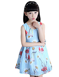 Girl's Casual/Daily Solid DressPolyester Summer Blue / White