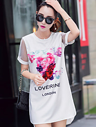 Boutique S   Women's Going out Simple Tunic Dress,Floral Round Neck Above Knee Short Sleeve White Cotton Spring