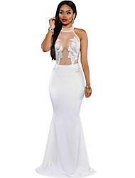 Women's Lace Mesh Applique Maxi Long Party Dress