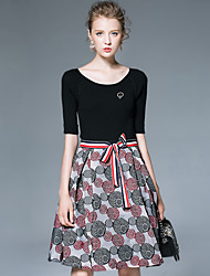 AFOLD® Women's Round Neck Short Sleeve Knee-length Dress-6026
