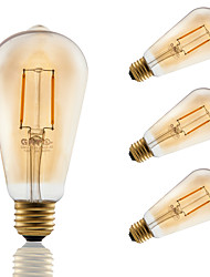 2 E26/E27 Lampadine LED a incandescenza ST21 2 COB 180 lm Ambra Intensità regolabile / Decorativo AC 110-130 V 4 pezzi