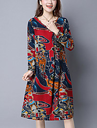 Women's Casual/Daily Vintage Ethnic Print Loose Dress,Print Long Sleeve Red / Green Cotton / Linen Spring / Fall