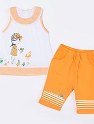 Baby Kleidungs Set-Lässig/Alltäglich Druck Baumwolle Sommer-Orange