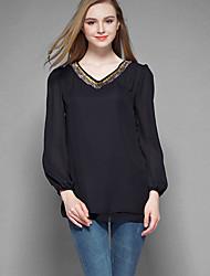 Tee-shirt Aux femmes,Couleur Pleine Grandes Tailles Chic de Rue Automne Manches Longues Col en V Noir Polyester Moyen