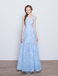 Prom Formal Evening Dress - Short A-line Scoop Floor-length Lace with Appliques Bow(s) Lace Sash / Ribbon