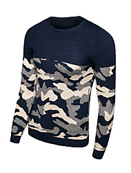 Men's Camouflage Casual Pullover,Wool Long Sleeve Blue / Red