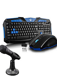 2.4GHz Gaming Wireless Keyboard Mouse Microphone and Stand  4 Pieces a Set