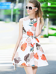 Boutique S Women's Casual/Daily Cute A Line Dress,Print Round Neck Above Knee Sleeveless Blue / Orange Polyester Summer