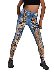 Women Print / Denim Legging,Spandex