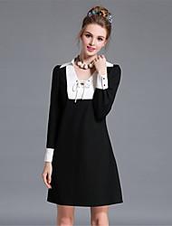 AOFULI Plus Size Women Black White Color Block Long Sleeve Europe Vintage Simple Dress