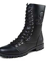 Черный-Мужской-Для прогулок-Кожа-На плоской подошве-Военные ботинки-Ботинки