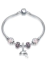 Bracelet Bracelets de rive Argent sterling / Verre Forme Ronde Mode Soirée / Quotidien / Décontracté Bijoux Cadeau Argent / Incarnadin,1pc