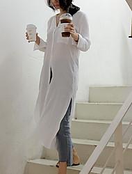 Mulheres Camisa Vestido,Happy-Hour / Casual Simples Sólido Colarinho de Camisa Médio Manga Longa Branco Algodão Primavera / Outono