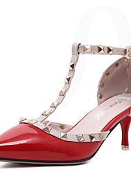 Damen-High Heels-Büro / Kleid / Lässig / Party & Festivität-PU-Niedriger Absatz-Spitzschuh / Knöchelriemen / Sandalen-Rosa / Rot / Weiß