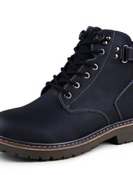 Men's Boots Winter Round Toe Cowhide Outdoor / Casual Flat Heel Lace-up Black / Brown / Yellow Others