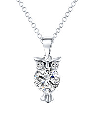 High Quality Cute Gold Silver Plated Chain Necklace Crystal Zircon Lovely Owl Pendants Necklace Fine Jewelry For Women