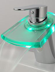Zeitgenössisch Becken LED / Wasserfall / berühren / berührungslos with  Messingventil Einzigen Handgriff Zwei Löcher for  Chrom ,