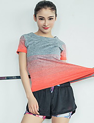 Running Tops Women's Short Sleeve Breathable Polyester Fitness Leisure Sports Badminton Bike Running  Sports Wear