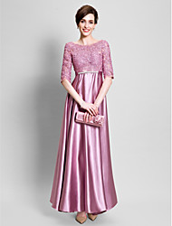 Sheath / Column Mother of the Bride Dress - Open Back Floor-length Half Sleeve Lace Satin with Appliques Lace
